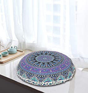 "32"" Purple Mandala Floor Pillow Meditation Cushion Seating Throw Hippie Decorative Bohemian Indian Plants Designs Comfortable Cushions Pillowcases Luxury Decor Planet Popular Creations (Cover Only)"