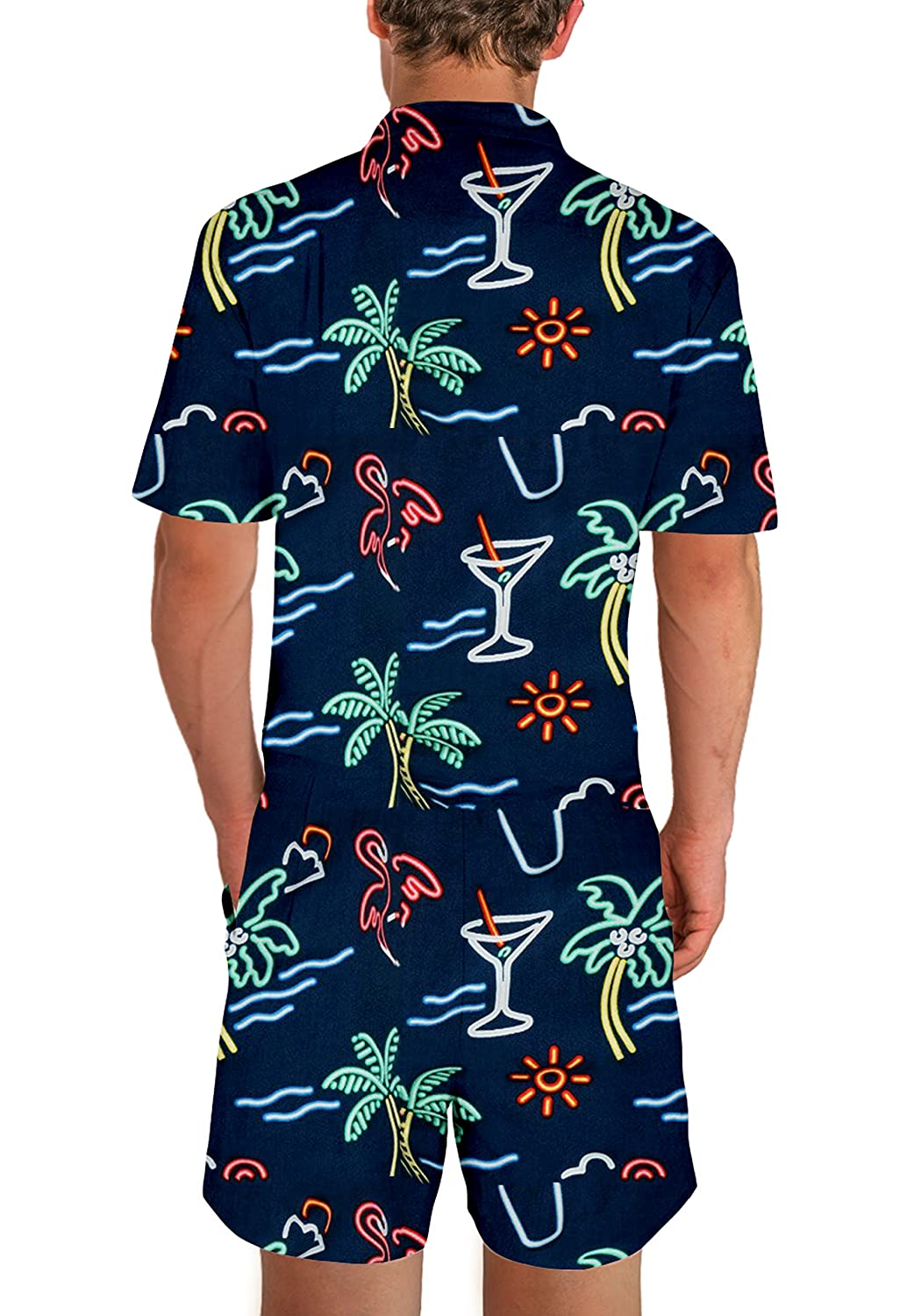 0b23da98b36 UNIFACO Mens Printed One Piece Short Sleeve Zipper Rompers Summer Short  Jumpsuit Overall Pants w Pocket at Amazon Men s Clothing store
