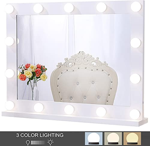 Chende Hollywood Lighted Makeup Mirror with 14 LED Light Bulbs, Lighted Vanity Mirror for Wall with Touch Control Dimmer in Makeup Studio, 3 Color Lighting Modes 31.5 X 23.6