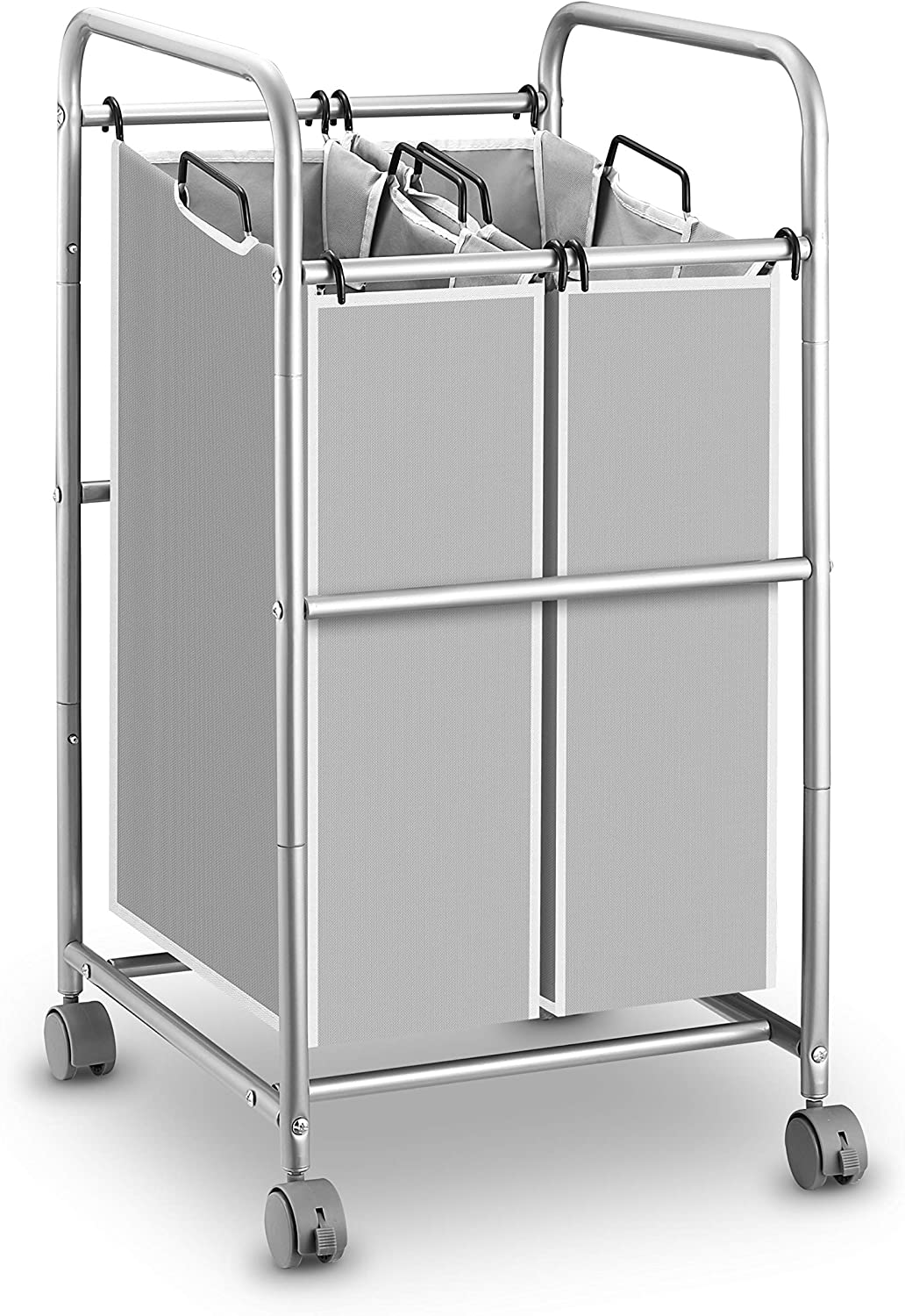 Simple Trending Heavy Duty 2-Bags Laundry Hamper Sorter Cart with Rolling Wheels, Silver