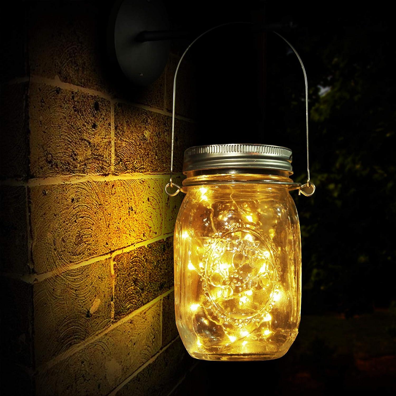 Lámpara de Decoración Solar para Jardín, Luz Solar, 20 LED, Lámpara de Ahorro de Energía e Impermeable para Interiores/Exteriores, Mesa, Festival y Lámpara de Decoración de Fiesta de Bodas (20 LED)