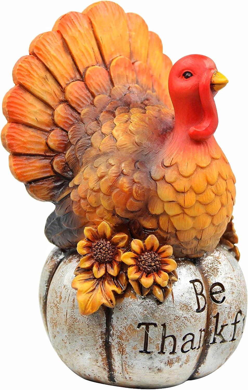 Kurala Turkey Centerpiece Decor for Thanksgiving Be Thankful Figurine Resin Turkey Tabletop Decoration