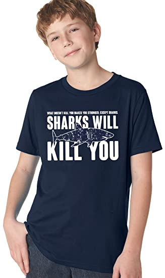 616b7cc375 Youth Sharks Will Kill You Funny Shark T shirt Sarcasm Novelty Offensive  Shirts (Navy)