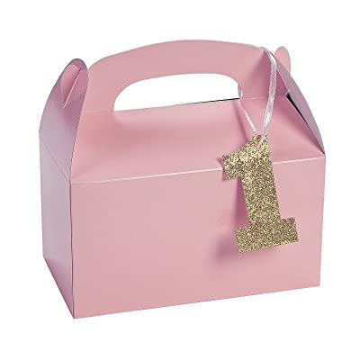 Light Pink 1st Birthday Treat Boxes with Tags (set of 12) Birthday Party Supplies: Toys & Games