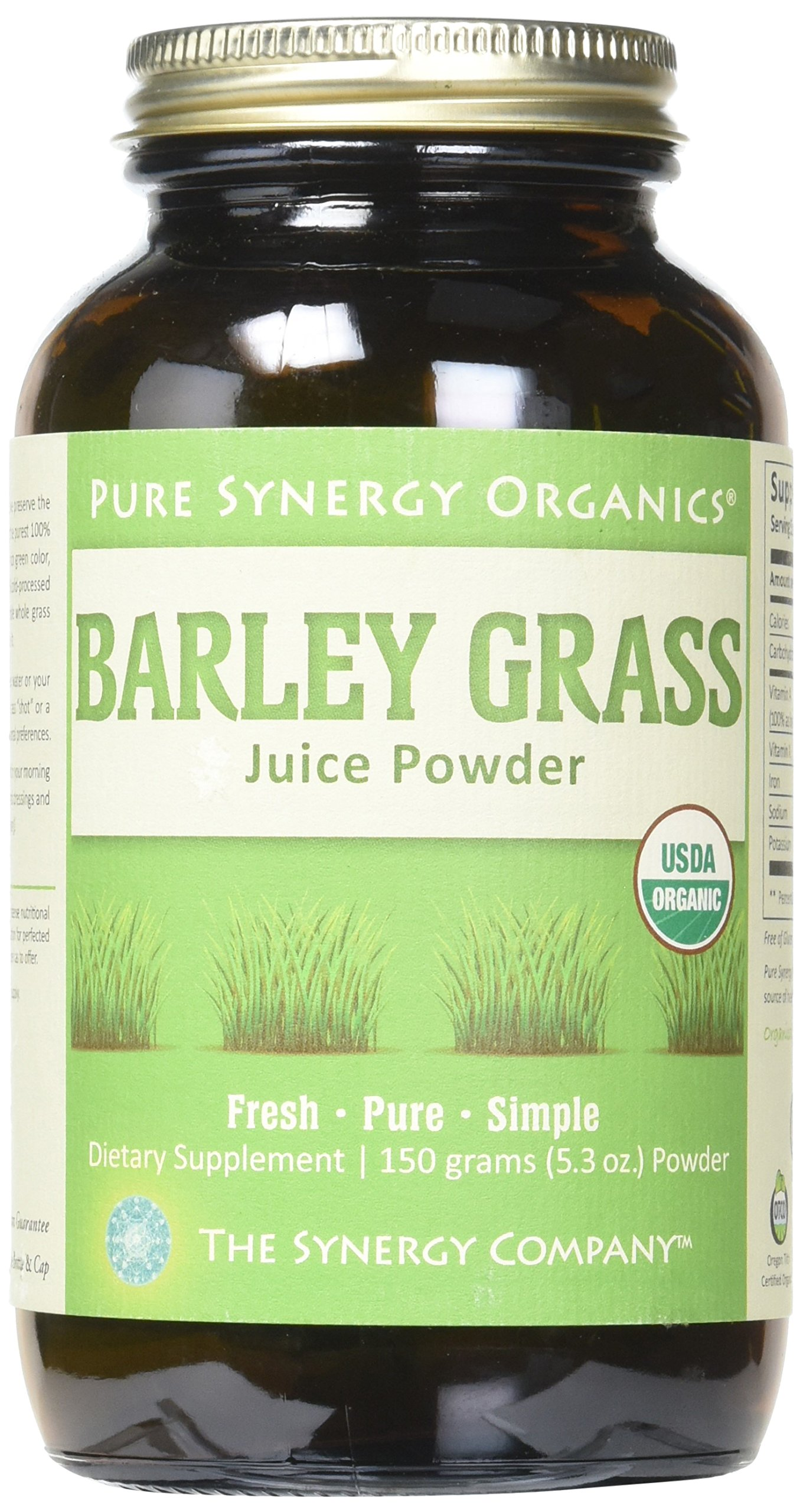 Pure Synergy USDA Organic Barley Grass Juice Powder (5.3 oz) USA Grown, Non-GMO