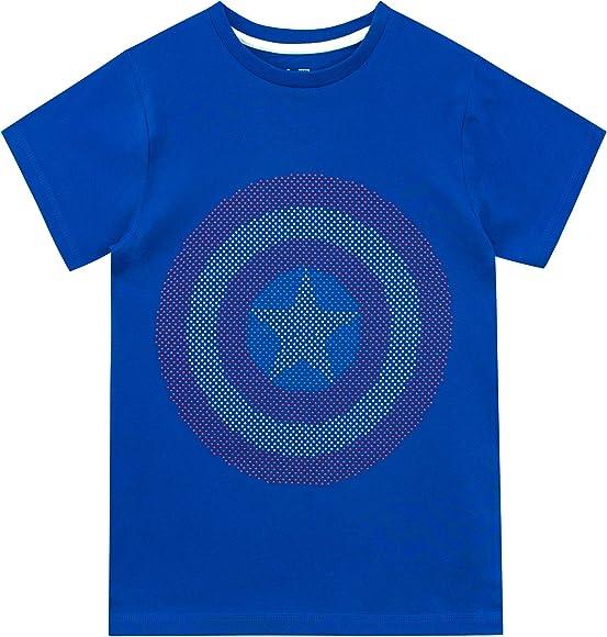 Marvel Camiseta de Manga Corta para niños Captain America Azul 3-4 ...