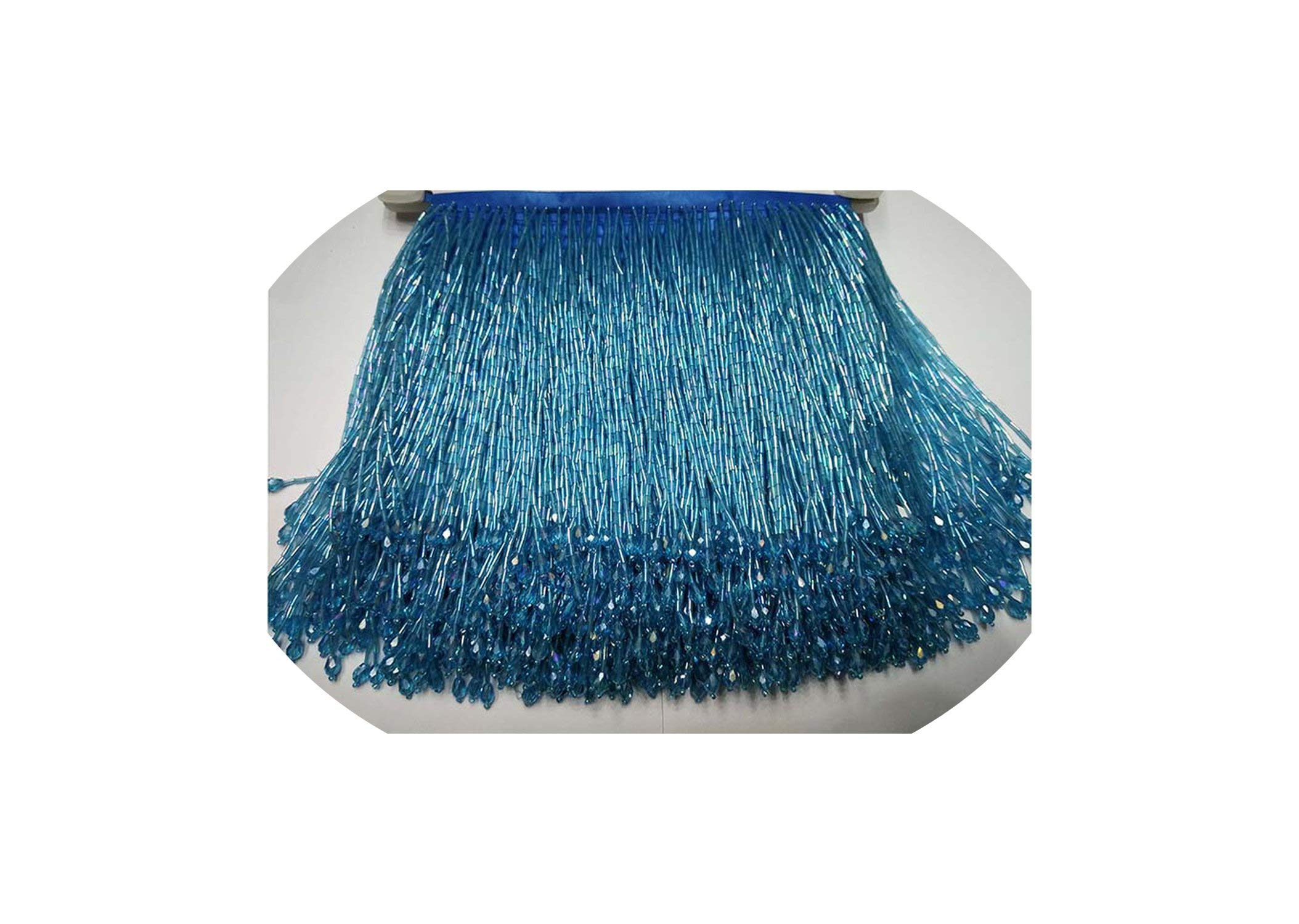 Tassels 5 .5Yard 15Cm Long Lace Bead Tube Lace Tassel Fringe Lace Trim Ribbon Sew Latin Dress Stage,Green by Li-Mei-Tassels