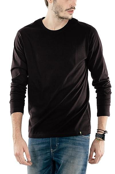 81f7eebe6fc4 Bewakoof Jet Black Plain Men s Round Neck Full Sleeve T-Shirts  Amazon.in   Clothing   Accessories