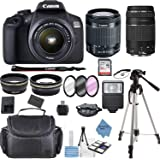 Canon EOS 2000D Rebel T7 Kit with EF-S 18-55mm f/3.5-5.6 III Lens + Canon 75-300 Lens+ Accessory Bundle +TopKnotch Deals…