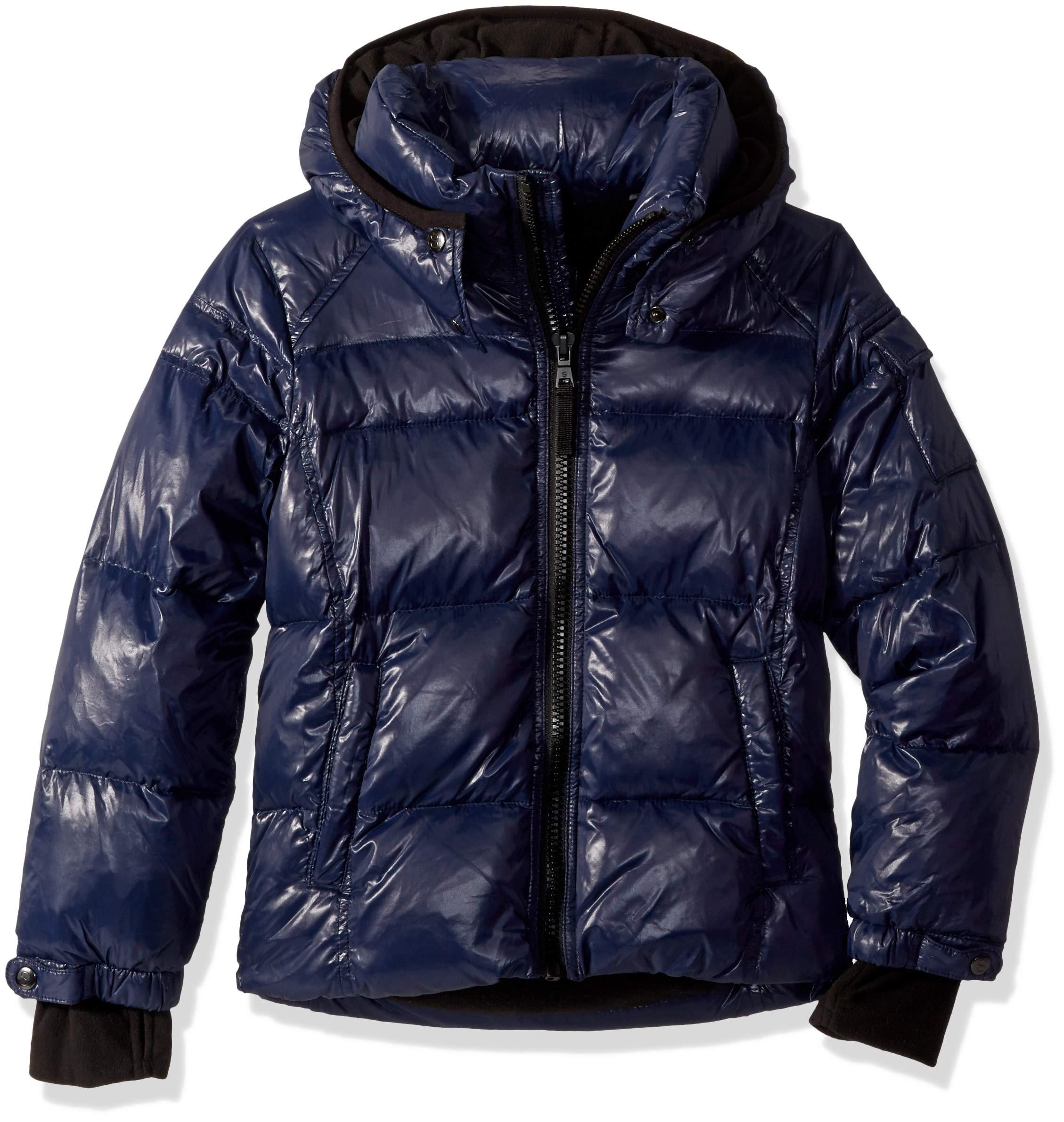 S13 Boys' Big Downhill Gloss Down Puffer with Detachable Hood, Navy 14