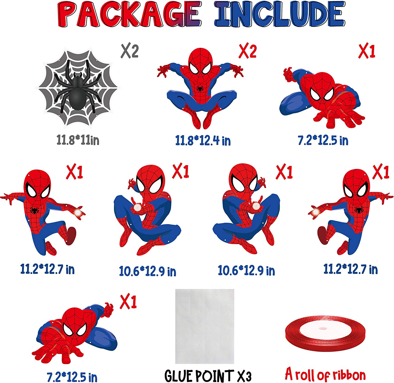 Hanging Flags for Outdoor Indoor Home Wall Decor PANTIDE Spiderman Cutouts Door Sign Porch Sign Door Banner Avengers Superhero Themed Birthday Party Banner Party Decorations Supplies 10 Packs