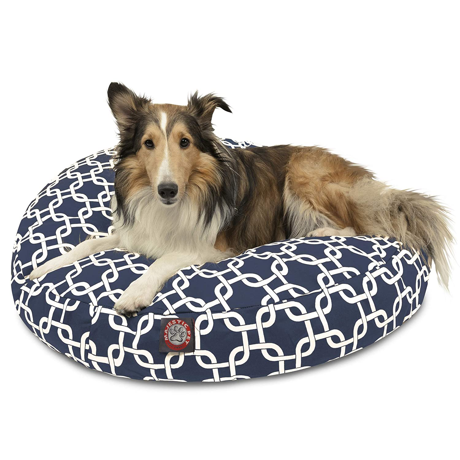 Majestic Pet Navy bluee Links Medium Round Indoor Outdoor Pet Dog Bed With Removable Washable Cover Products