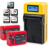 LCD chargeur 5 in 1 + 2x Baxxtar PRO ENERGY batterie pour Sony NP-FW50 (vraiment 1080mAh) – NOUVEAU avec Entrée MicroUSB et sortie USB, pour charger un troisième appareil que iPhone Smartphone