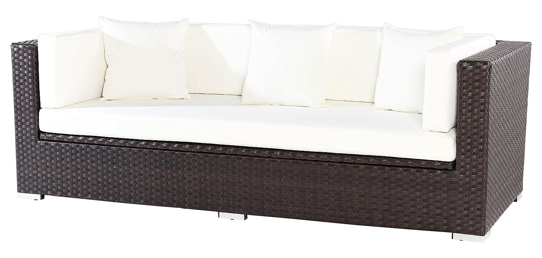 Outflexx 3-Sitzer Sofa, inklusive Polster und Kissenbox funktion, Polyrattan, Braun, 210 x 85 x 70 cm