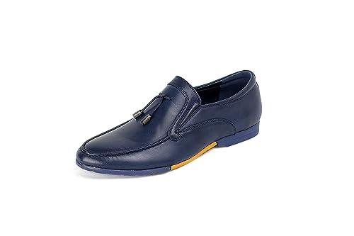 HOMBRE SIN CIERRES Inteligente Zapatos Casual Borla Mocasines - Azul Marino, 40