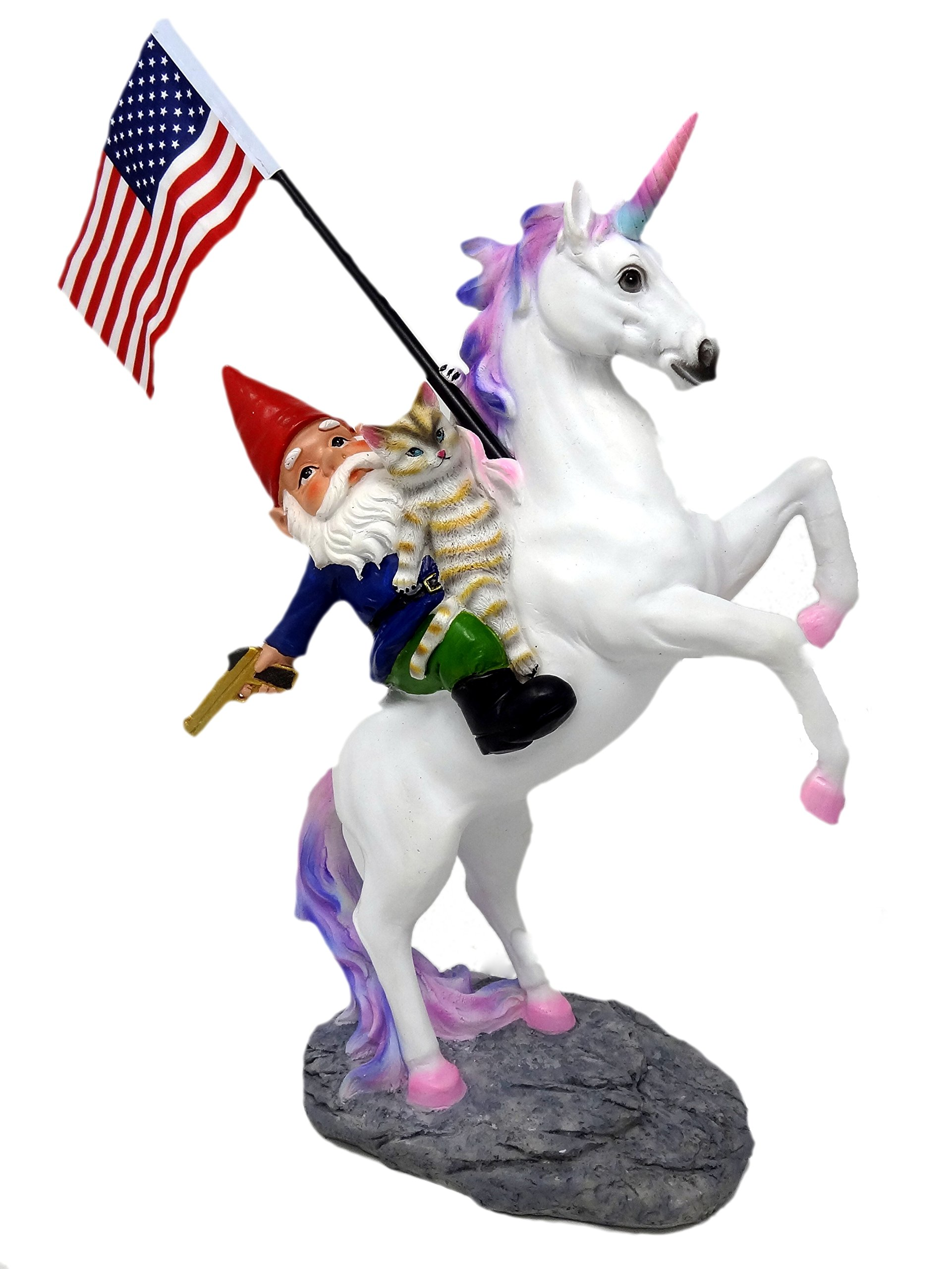 Funny Guy Mugs Garden Gnome Statue - The Ultimate Trio: Cat, Gnome & Unicorn Statue - Indoor/Outdoor Garden Gnome Sculpture for Patio, Yard or Lawn by Funny Guy Mugs