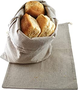 Lino Mantra - 2 Pack Oversized Bread bags for homemade bread, 16 IN x 10 IN, Reusable Food Storage, Homemade Bread, Housewarming, Wedding Gift, Party. Made from breathable Flax Cotton (20% Linen 80% Cotton)