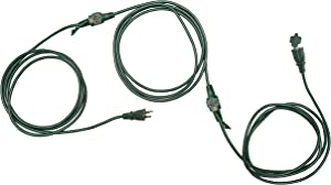 25 Ft Outdoor Extension Cord with Multiple Evenly Spaced Electrical Power Outlets - 16/3 SJTW Durable Green Cable for Christmas Lights & Holiday Decorations