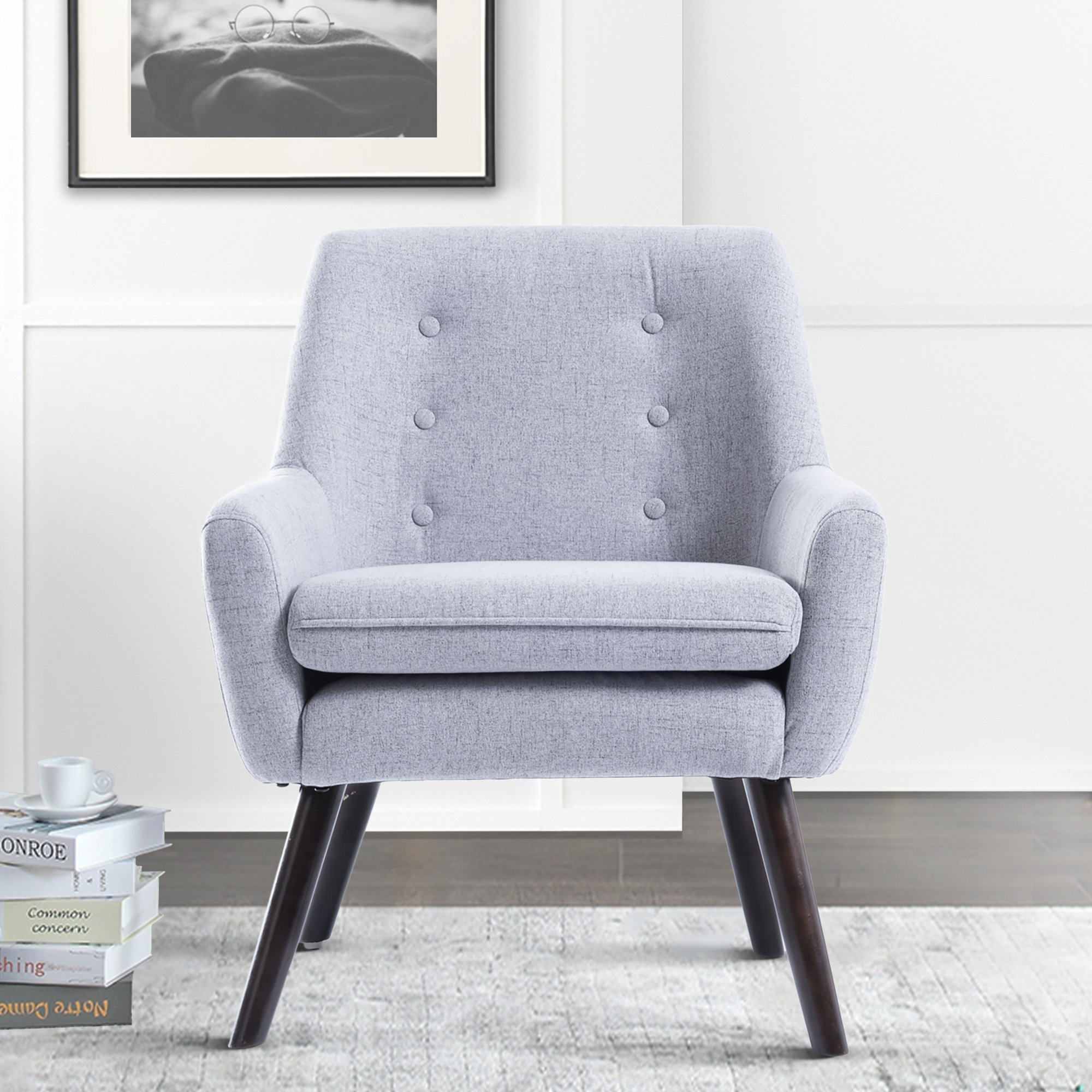 Harper&Bright Designs Stylish Fabric Accent Chair Button-Tufted Upholstered Armchair with Wood Legs (Grey)