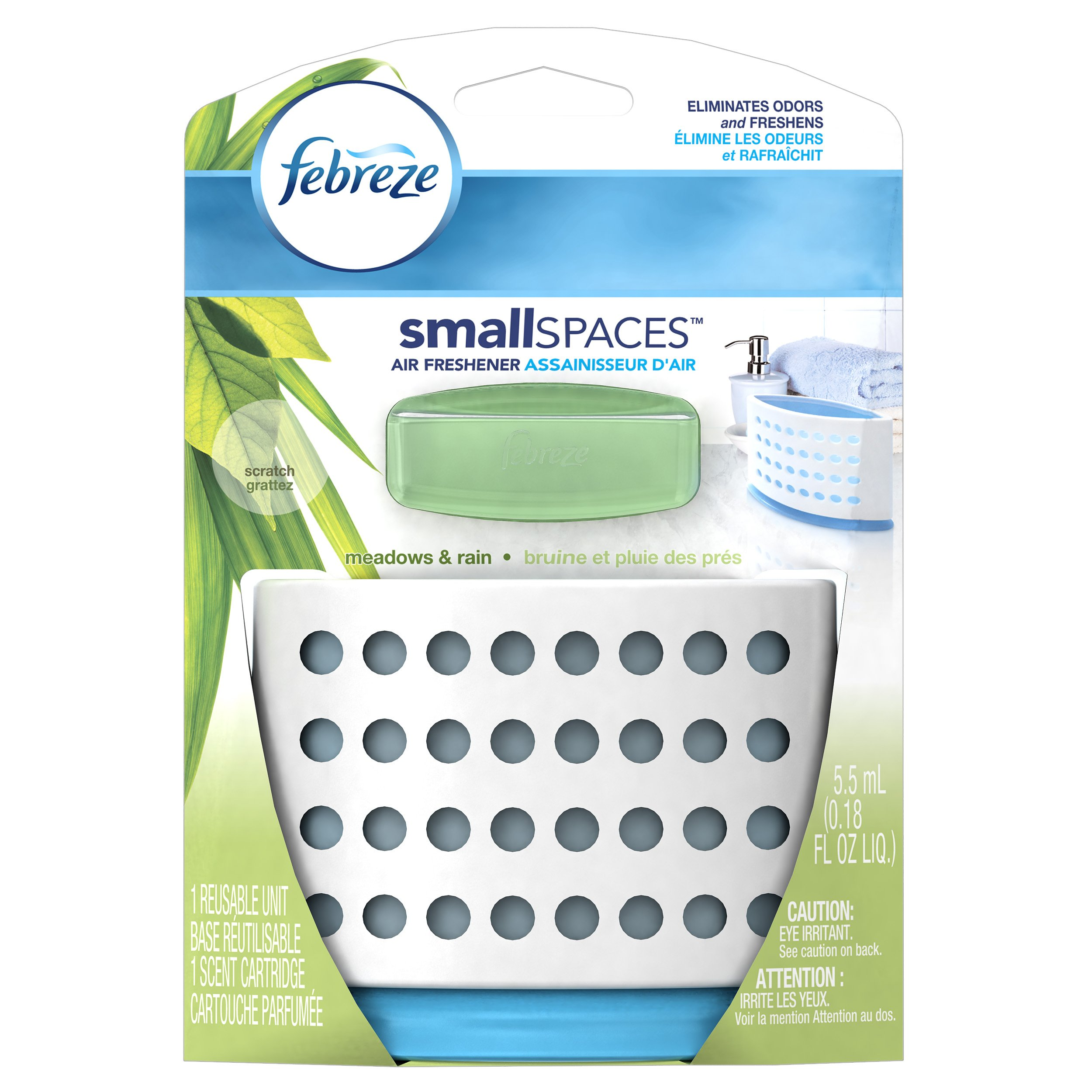 Febreze SmallSpaces Meadows and Rain Starter Kit Air Freshener (1 Count, 5.5 mL)(Pack of 8)
