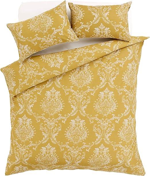 Royal Damask Print Duvet Quilt Cover Bedding Set Grey Gold in All Sizes New