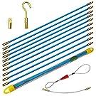 Aewio 通線 入線 呼線工具 ロッド ケーブル牽引具セット5m(50cmx10pcs) (全長さ5m ブルー)