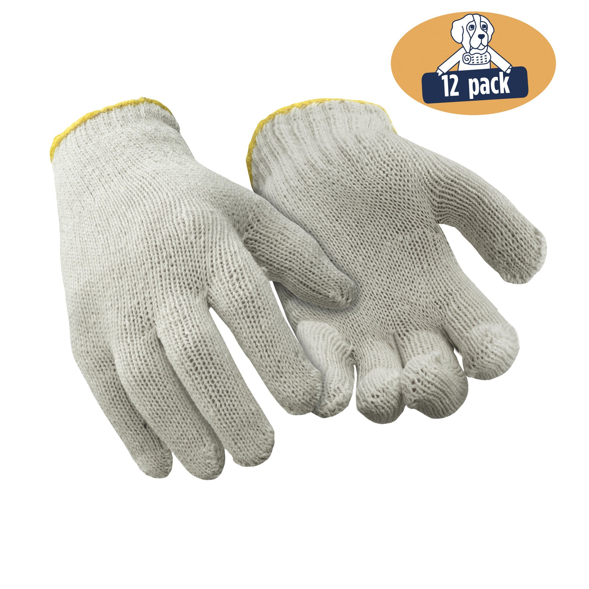 RefrigiWear Lightweight String Knit Glove Liners, Pack of 12 Pairs (Natural, Large)