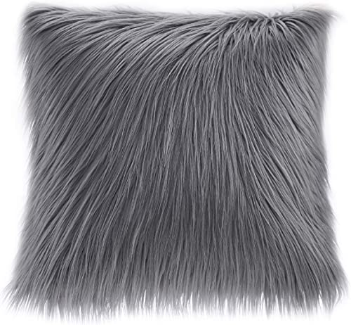 Akro-Mils Edina Pluffy Faux Fur Mohair Decorate Square Pillow with Insert Luxury for Sofa, Bed, Couch, 20×20, Grey