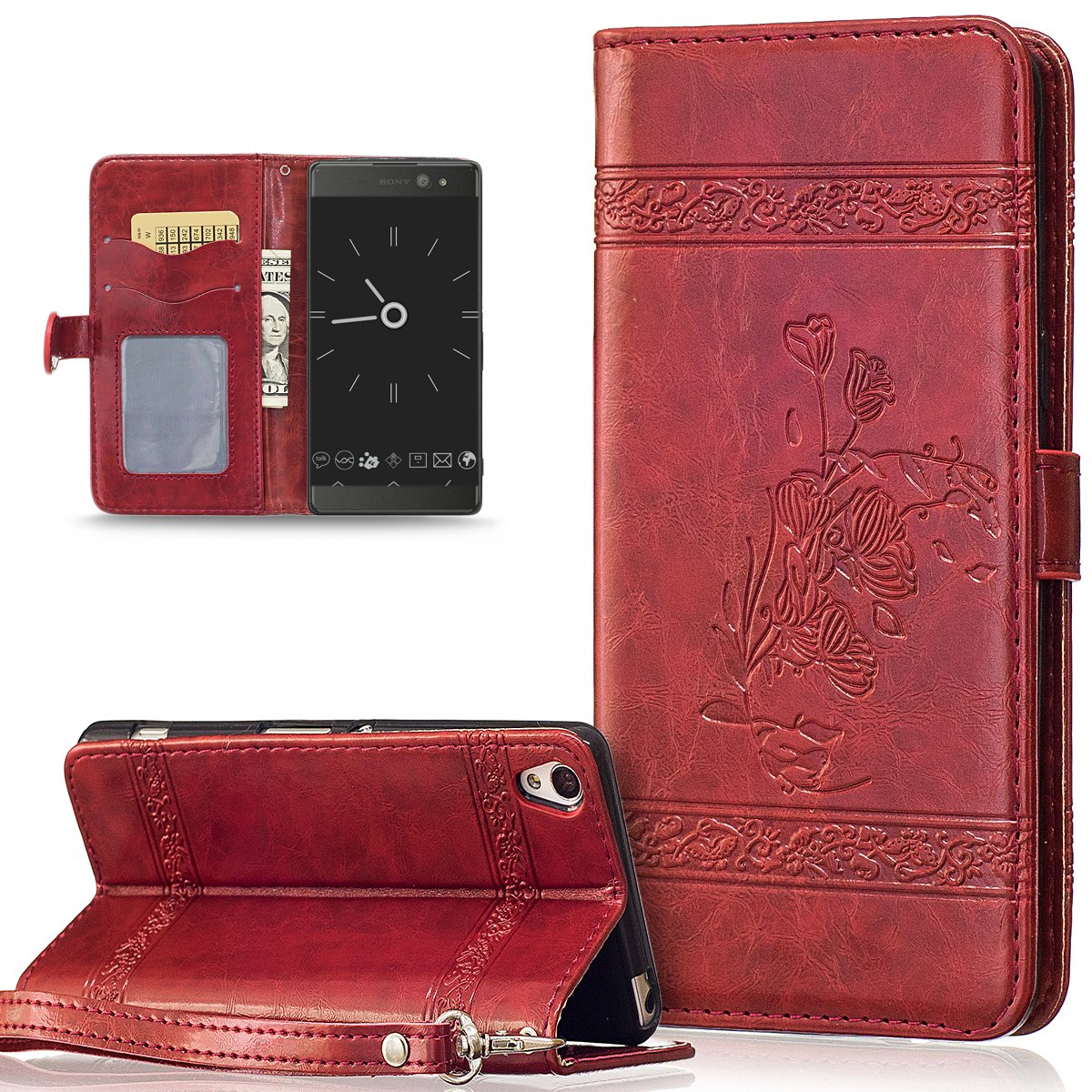 Coque Sony Xperia XA, Etui Sony Xperia XA, ikasus Coque Sony Xperia XA Bookstyle É tui Housse en Cuir Case, Embossing Motif Floral Flower Etui Housse [Stand Feature] Cuir PU Portefeuille Folio Flip Case Cover Wallet Coque Protection É tui ave