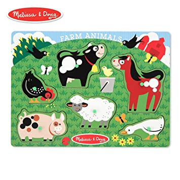 Melissa Doug Farm Animals Wooden Peg Puzzle 6 Pcs