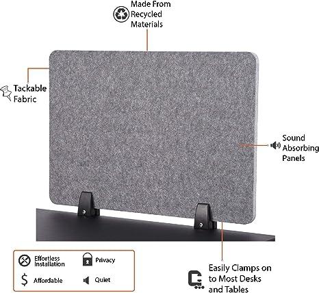 Divisorio acustico da scrivania con morsetto ReFocus Castle Gray, 24 x 16 riduce il rumore e le distrazioni visive grazie a questo pannello leggero da scrivania per privacy