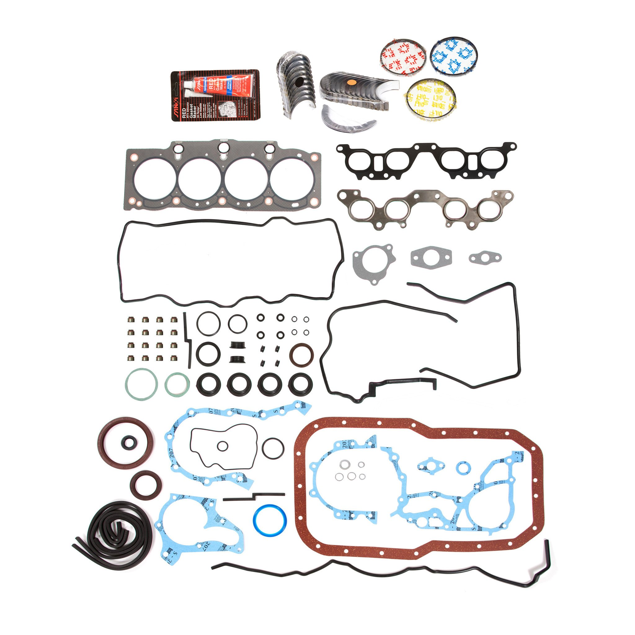 Evergreen Engine Rering Kit FSBRR2021EVE 90-96 Toyota MR2 Camry 2.2 5SFE Full Gasket Set, Standard Size Main Rod Bearings, Standard Size Piston Rings by Evergreen Parts And Components