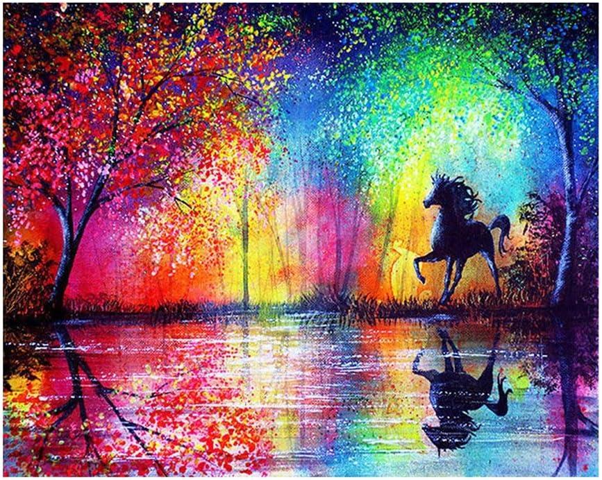 taglia unica Colorful Zhouba DIY attraente colorato albero paesaggio cavallo resina 5D Diamond Painting Craft 40/x 30/cm