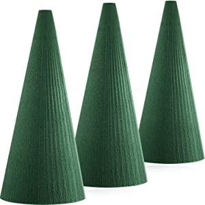 DIY Flower Arrangement Kit , Floral Craft Foam Cone Green Round Wet, Wedding Aisle Flowers, Table Centerpiece, Party Decoration(7.87 Inch x 3.5 Inch, 3 Pieces)