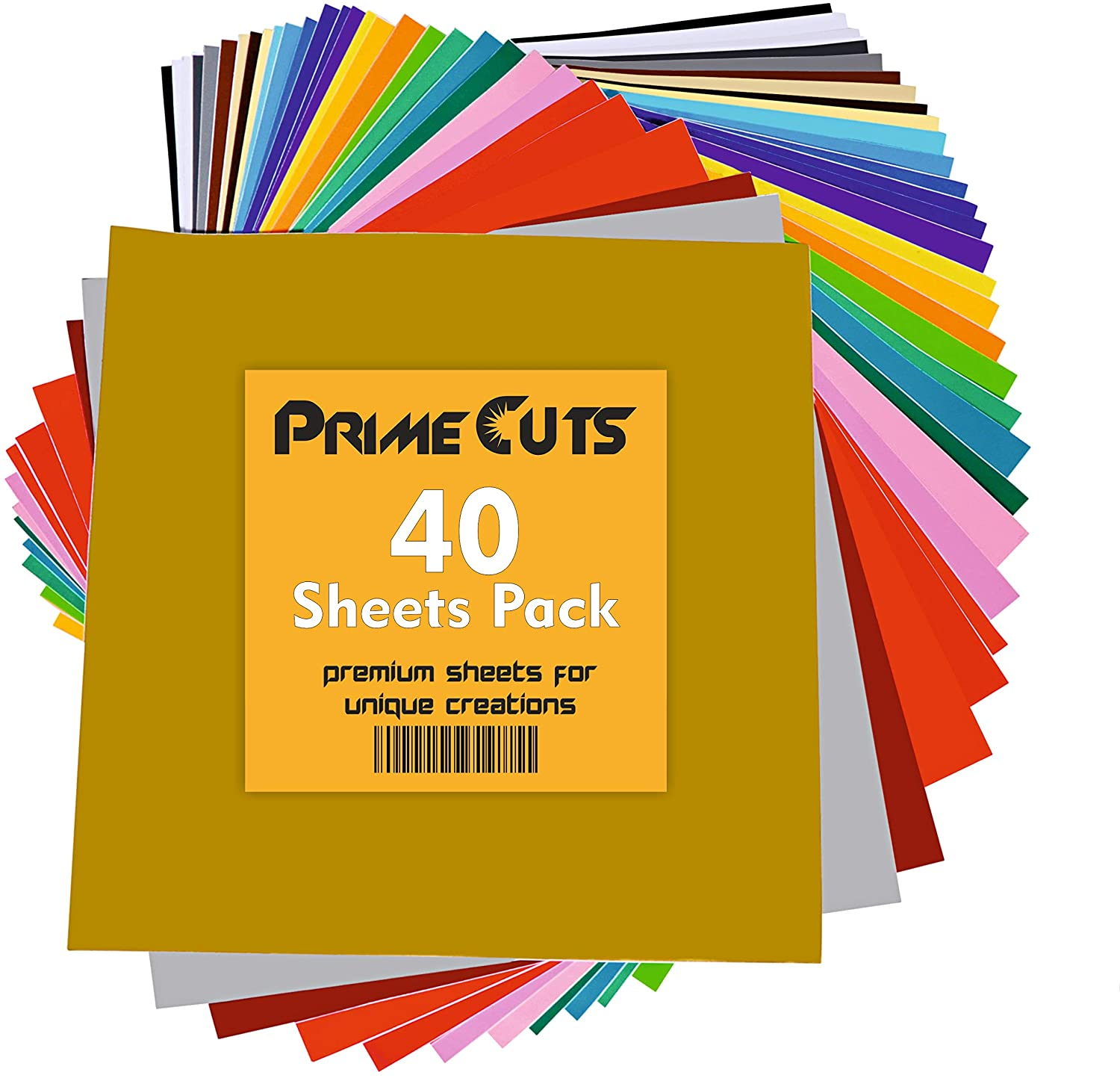 Permanent Adhesive Backed Vinyl 40 Sheets - PrimeCuts USA - 40 Sheets 12 x 12 - 40 Assorted Color Sheets for Cricut, Silhouette Cameo, and Other Craft Cutters Boreen
