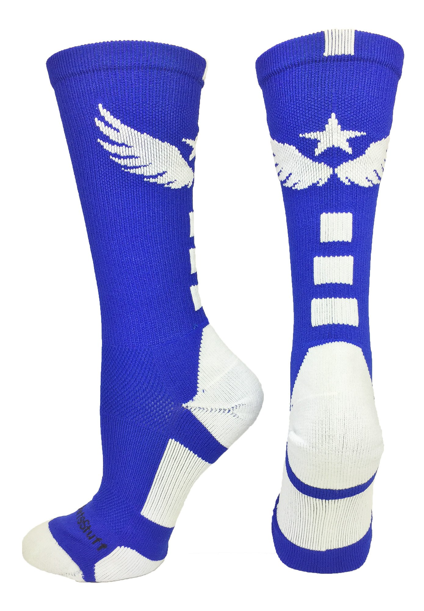 MadSportsStuff Light Speed Athletic Crew Socks (Royal/White, Small) by MadSportsStuff