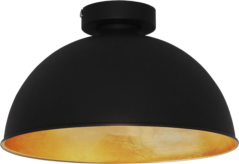 BKLicht I Deckenleuchte Retro I Deckenlampe Vintage II Ø31cm I Schwarz Gold I ohne E27 Leuchtmittel I Goldener Lampenschirm