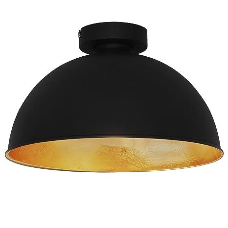 Lámpara techo de diseño retro vintage y industrial Ø310mm max. 60W, Elegante y moderna 230V, Color negro y dorado