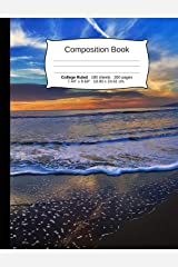 """Beach Composition Notebook, College Ruled: Composition Book, Lined Student Writing Journal, Exercise Book, 200 pages, 7.44"""" x 9.69"""" (Beach Series) Paperback"""
