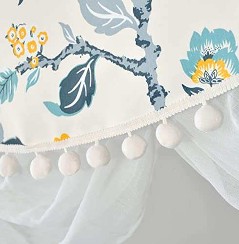 DriftAway Ada Sketch Botanical Flower Floral Leaf Print Thermal Insulated Window Curtain Swag Valance Rod Pocket 52 Inch by 28 Inch Plus 2 Inch Header Ivory Blue Blush and Gray