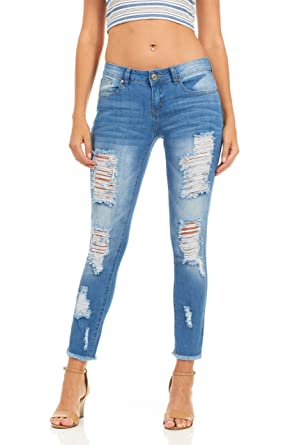 a109a2fdc40 Cover Girl Denim Distressed Skinny Jeans for Women Juniors Size 1 Blue Fray  Hem