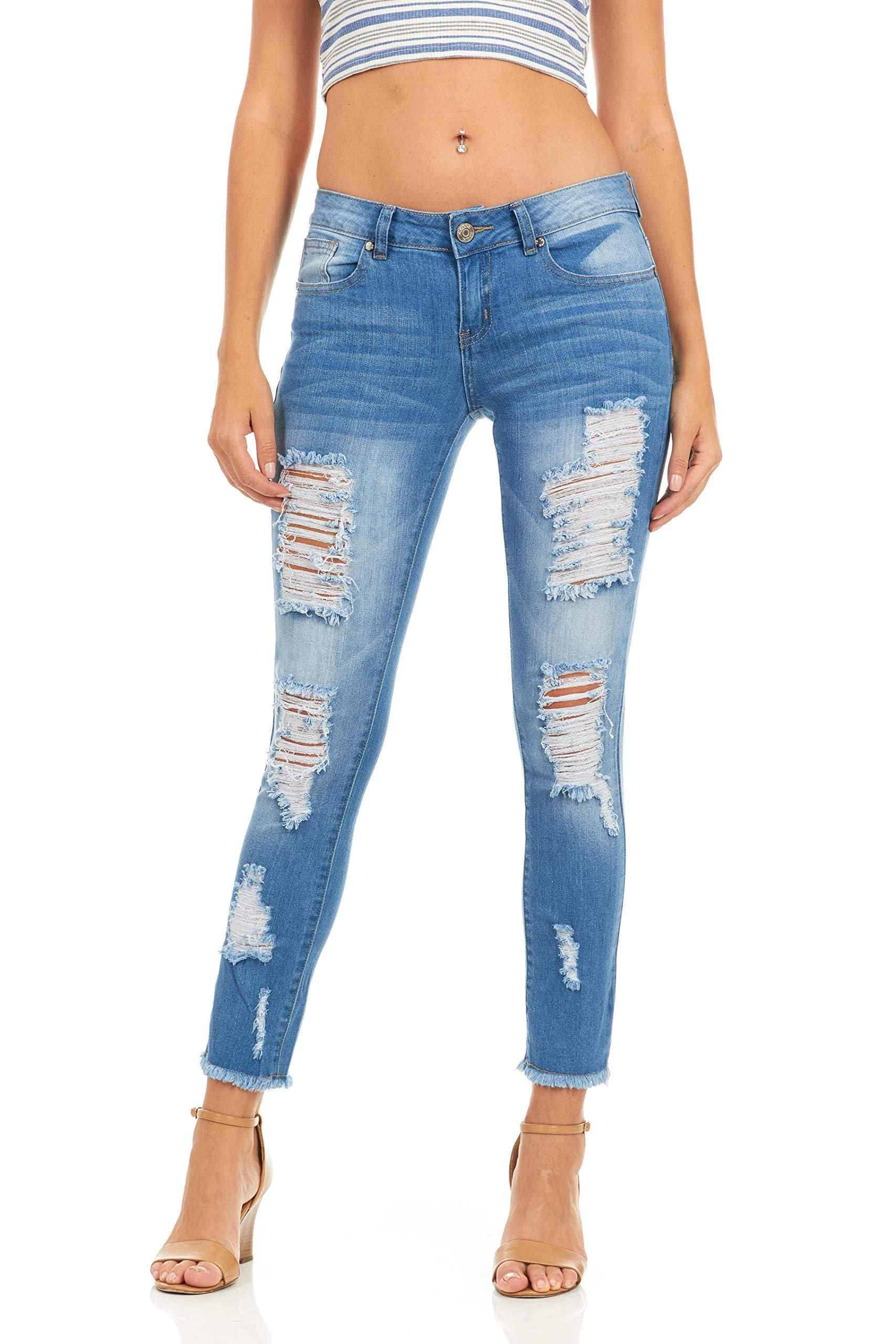 Cover Girl Denim Distressed Skinny Jeans for Women Juniors Size 3 Blue Fray Hem