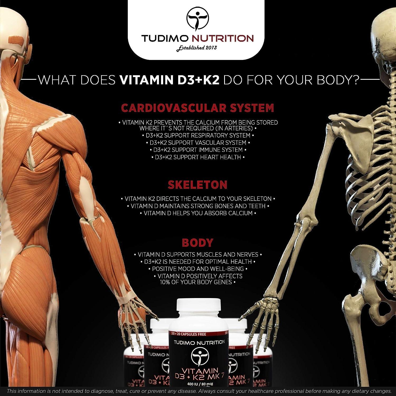 ☆ Vitamina D3 y K2 MK7 ☆ 400 UI / 80 mcg - 200 pzas (6+ Meses de Provisión) de Cápsulas de Desintegración Rápida de Calidad Premium con Vit K2 Menaquinona ...