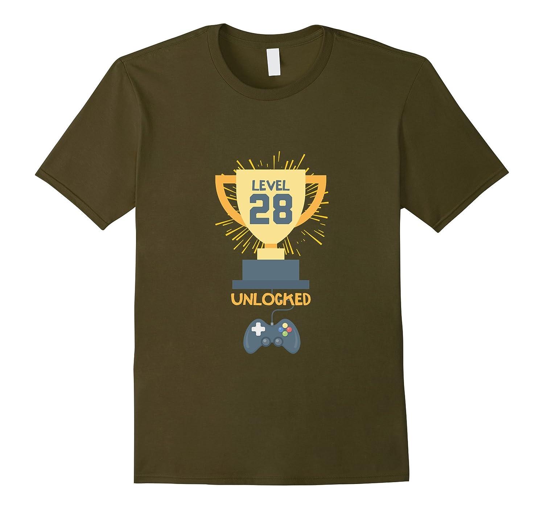 28th Birthday Shirt Gift 28 Year Old Level Up Gamer Tshirt-T-Shirt