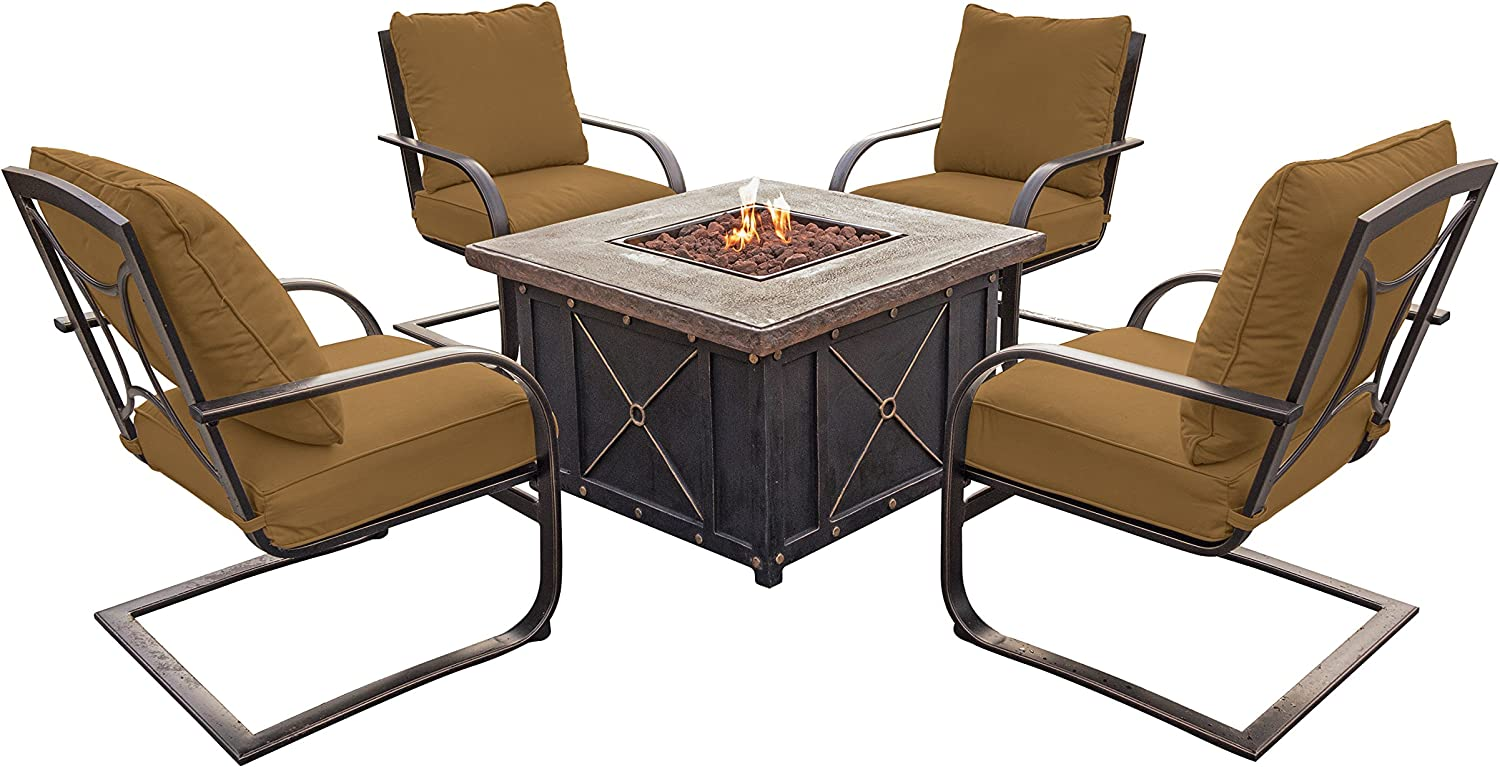 Hanover SUMMRNGHT5PCFPSP Summer Nights 5-Piece Lounge Set with Four C-Spring Rockers and a 30,000 BTU Fire Pit Table Outdoor Furniture, Rust 81fFAYSZhkLSL1500_
