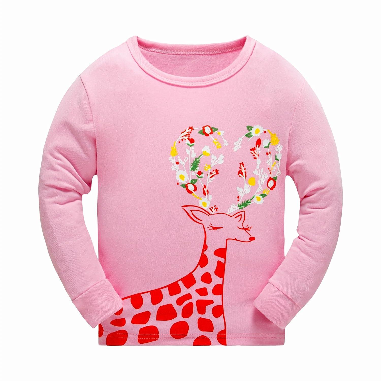 2Bunnies Little Girls Cotton Bunnies Rabbits Easter Christmas Pant Pajamas Set