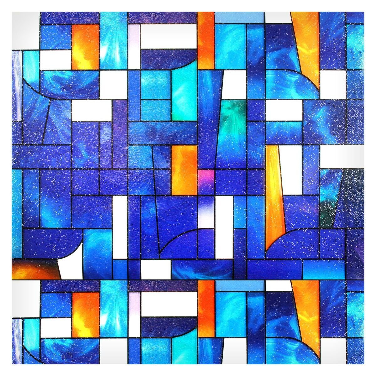 Buydecorativefilm BDF 3ABST2 Window Film Abstract Stained Glass (36'' X 53'' (2 Continuous Patterns))