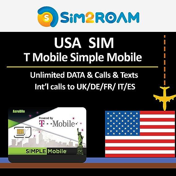 USA T-Mobile Simple Mobile 7 días prepago tarjeta SIM ilimitado 4G ...