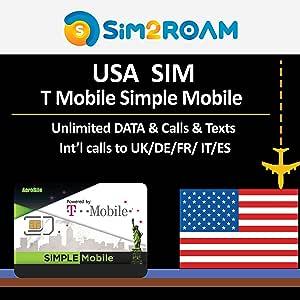 USA T-Mobile Simple Mobile 7 días prepago tarjeta SIM ilimitado 4G Internet datos, llamadas, textos+ llamadas internacionales gratuitas a Reino Unido: Amazon.es: Electrónica