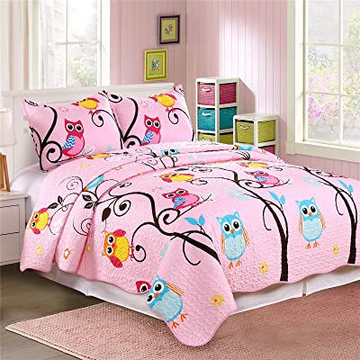 Cozy Line Home Fashions Microfiber Reversible Kids/Girls Coverlet Bedspread Quilt Set with Shams (Owl Family Tree, Queen - 3 Pieces): Home & Kitchen